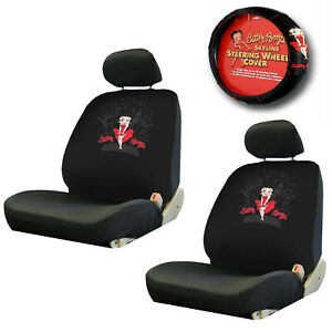 5pc Betty Boop Skyline Combo W Steering Wheel Cover Low Back Seat Covers