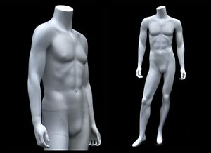 Adult Male Headless Standing Fiberglass Matte White Mannequin With Metal Base