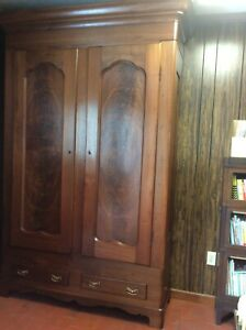 1800s Black Walnut Breakdown Wardrobe