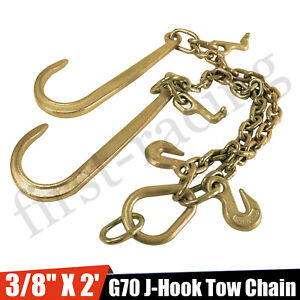 3 8 X 2 V Type Tow Chain J Hook G70 Grab Hook Tractor Car Wrecker Truck Tie