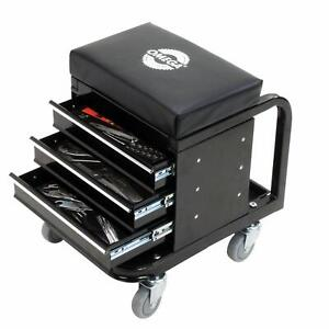 Black Padded Roller Seat Garage Creeper Tool Box Storage Tray Work Organizer New