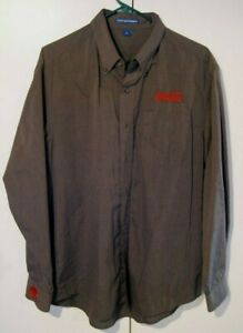 Port Authority Embroidered Coca-Cola Mens Size L Charcoal Grey Dress Shirt