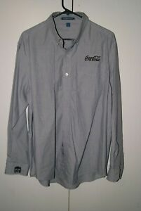 Port Authority Embroidered Coca-Cola Mens Size L Grey Dress Shirt