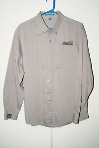 Port Authority Embroidered Coca-Cola Mens Size L Grey Pin Striped Dress Shirt