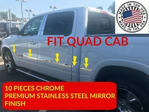 Fits Dodge Ram Quad Cab 2019 20 Body Side Molding Chrome Stainless Steel Trim