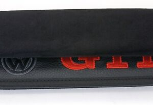 Volkswagen Car Seat Belt Covers Shoulder Pads Cushion Black Leather Embroidery