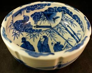 Wonderful Antique Chinese Porcelain Bowl Blue Painting Of Figures
