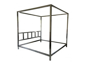 Vtg Mcm Pace Collection Milo Baughmann Style Chromed Queen Size Canopy Bed Frame