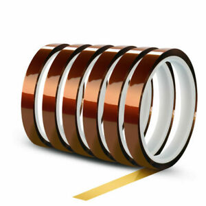 6 Rolls 10mm X 30m 100ft High Temperature Heat Resistant Kapton Polyimide Tape