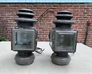 Vtg 1910 Antique Brass Pair Automobile Carriage Lamp Headlights Converted