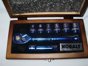 Kobalt Reversible Rachet Wrench Six Sockets In Fitted Case Holiday Gift Set