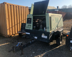 Sullair Dpq375 ca3 375 Cfm Diesel Air Compressor W Trailer