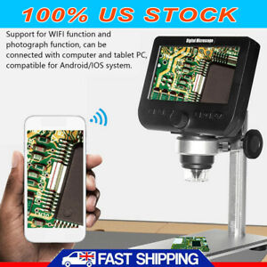 1000x 5mp Microscope 4 3 Lcd Display 8led Digital Magnifier With Holder Wifi Us