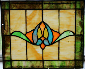 Antique Leaded Stained Glass Window 16 1 X 19 1 Colorful Central Flower 2