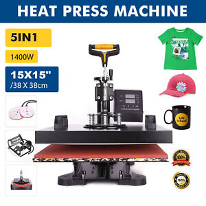 15 x15 5in1 Combo T shirt Heat Press Transfer Machine Sublimation Swing Away Us