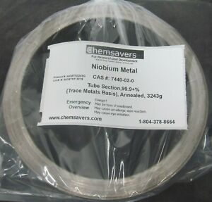 Niobium Metal Tube Section 99 9 trace Metals Basis Annealed 3243g