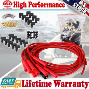 Universal Straight Boots Silicone Spark Plug Wires Set 8mm Sbc Hei Chevy Taylor