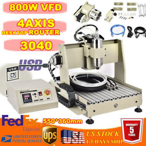 Usb 4 Axis 800w Vfd Cnc 3040z Router Engraving Cutting Machine Milling Wood 110v