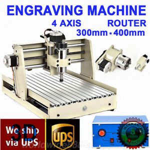 4 Axis 3040 Cnc Router Engraver Engraving Milling Cutter Carving Machine 400w