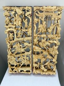 Chinese Antique 3d Gold Gilt War Field Wood Carving Panel