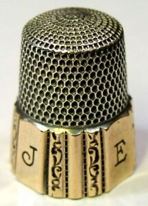 Antique Simons Bros Gold Band Sterling Silver Thimble Fluted Octagon Jeh