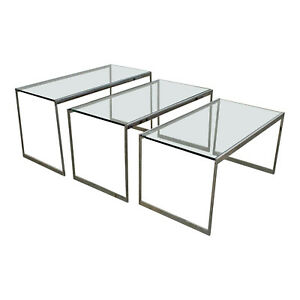 Set Of 3 Mid Century Modern Chrome Glass Top Nesting Tables Side Tables