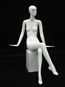 Abstract Glossy White Adult Fiberglass Female Seated Fashion Mannequin With Base