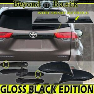 For 2014 19 Toyota Highlander Gloss Black Door Handle Covers Ws mirrors tailgate