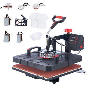 15x15 Swing Away Heat Press Transfer Sublimation Machine 8 In 1 T shirt Cap Hat