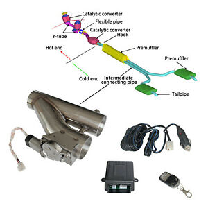 3 Exhaust Control E Cut Out Dual Valve Electric Y Pipe With Remote Kit