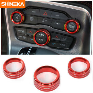3 Air Condition Audio Switch Knob Trim Ring For Dodge Challenger Charger 15 Red