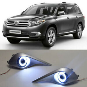 2x Led Drl Daytime Day Fog Lights angel Eyes For Toyota Highlander 2012 2014