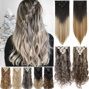 US SALE Clip in 100% Real Natural as Human Hair Extensions 8 Pcs Long Wavy Ombre $8.09
