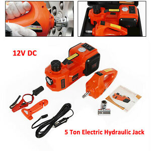 Car Electric Jack Hydraulic Floor 12v Dc 5 Ton Lift Jack With Mpact Wrench Kit
