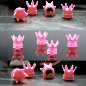 4x Pink Crown Style Car Wheel Tire Air Valve Stems Caps Cover Rims Accessories