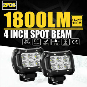 2x 4 Inch 18w Led Work Light Bar Spot Beam Driving Offroad Suv Car Vehicle Pods