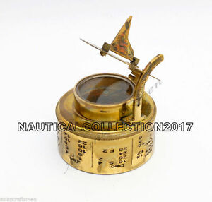 Collectible Nautical Heavy Antique Brass Dolland London Sundial Compass