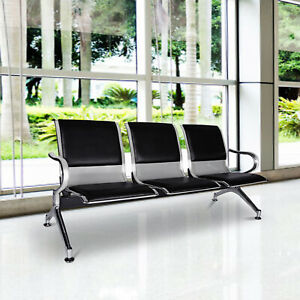 Kinbor 3 seat Heavy Pu Leather Waiting Room Chair Reception Office Airport Bank