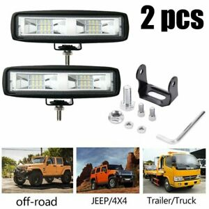 2 6 Inch 6000k Led Work Light Bar Flood Combo Pods Driving Off Road Tractor 4wd