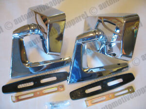 Vintage Style Chrome Square Door Mirrors Classic Musclecar Hotrod Pair New