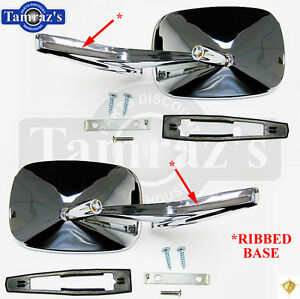 Chevy Chrome Rectangular Rear View Ribbed Base Door Side Mirror Hardware Pr