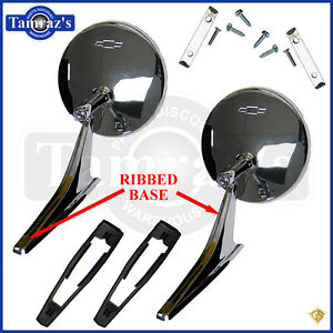 Chevy Chrome Round Bowtie Rear View Ribbed Base Door Side Mirror Hardware Pair