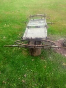 Antique Iron Wagon Frame Primitive Farm Cart Wagon