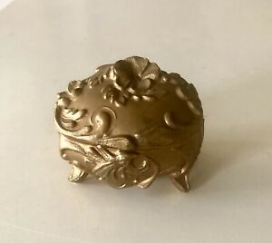 Antique Art Nouveau Trinket Box Small Dresser Jewelry Casket Gold Victorian Vtg