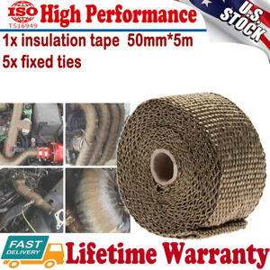 2 X 5m Titanium Lava Exhaust Header Pipe Heat Wrap Roll With Stainless Ties Kit