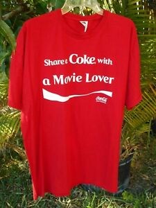 COCA COLA Soda Pop SHARE A COKE with a Movie Lover Open Happiness Red Shirt~2XL