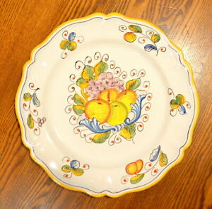 DERUTA Pottery Ceramic Hand Painted Fruits Motif Platter 14.5 in Made in Italy
