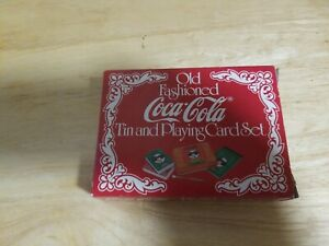 Vintage Coca Cola Old Fashioned Tin And Playing Card Set with Score Pad/Pencil