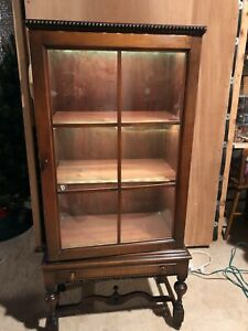 Antique Queen Anne Mahogany Curio Cabinet Doll Led Lights Cupboards Furniture
