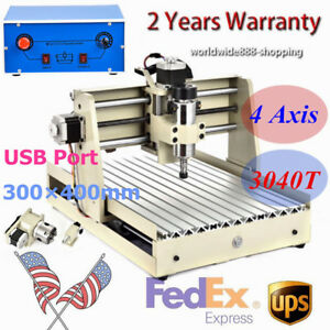 Usb 3040t 4axis Cnc Router Engraver Diy Engraving Drilling Cutting Machine 400w